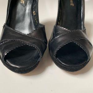 LK Bennett Shoes - L. K. Bennett Open Toe Scalloped Black Pumps 37/ 7